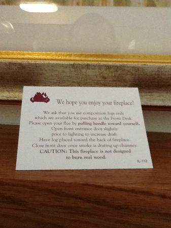Residence Inn Rockford: Fireplace instructions.
