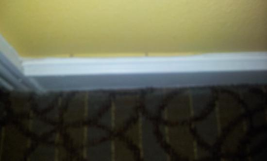 Sandpearl Resort: Peeling paint and paint stains on carpet in gulf view room