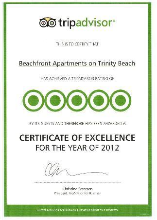 Beachfront Apartments on Trinity Beach: Award