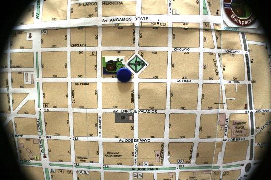 House Inn Backpacker: mapa de lña zona .. estamos entre 4 avenidas principales en el corazon de miraflores