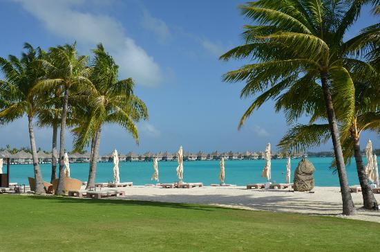 The St. Regis Bora Bora Resort: Breakfast view of beach