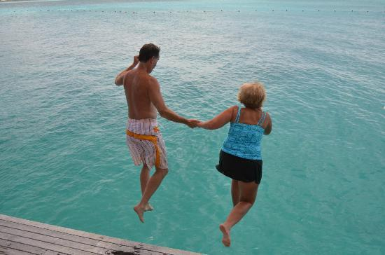 The St. Regis Bora Bora Resort: jumping off dock
