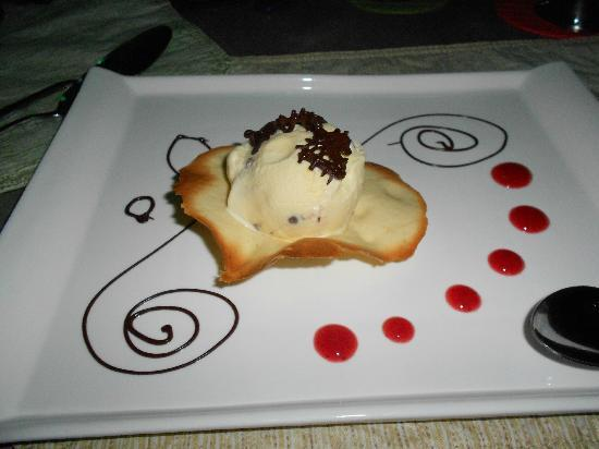 Hotel Laguna Mar: This was dessert!! It was this cookie and some kind of ice cream w/ raspberry swirl and chocolat