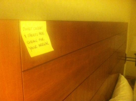 Hampton Inn Boston-Logan Airport: Headboard Note?