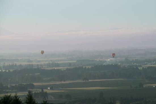 Wine Country Farm: Watching the morning Balloons from our deck.