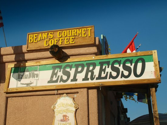 Beans Gourmet Coffee House: Sign above the shop
