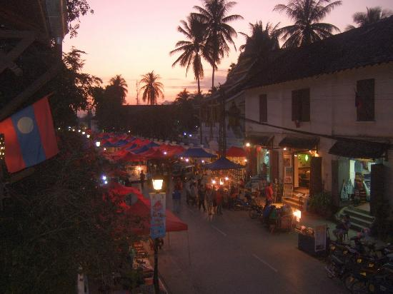 Luang Prabang Bakery Guesthouse: View of night markets from balcony
