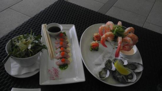 View Restaurant: *First Course Natural Coffin Bay Oysters - Fresh Mooloolaba Prawns - Smoked Salmon with avocado,