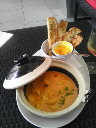View Restaurant: *Second Course Mooloolaba Prawns and Snapper Hot Pot with toasted Bread.