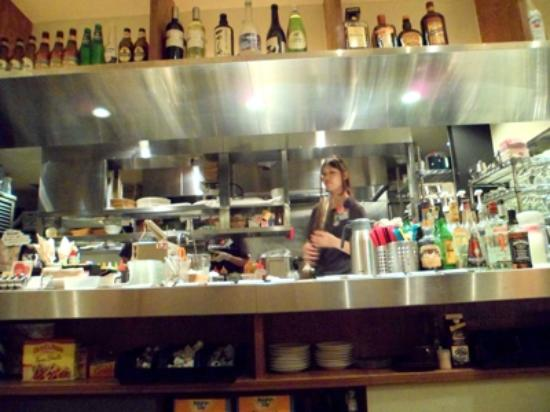 Wired Cafe Atre Ueno ten: Open kitchen with funny young chef