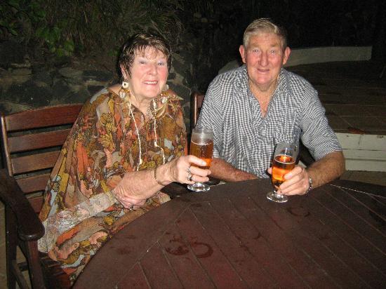 "Tanoa International Hotel: JIm and I enjoying our nightly ""Fiji Bitter"""