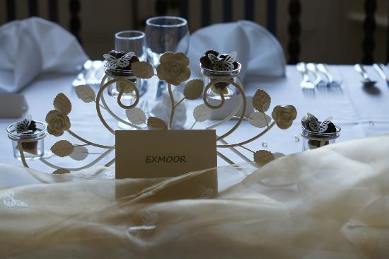 The Corner House Hotel: Chocolates and edible butterflies instead of candles, a lovely idea for the top table