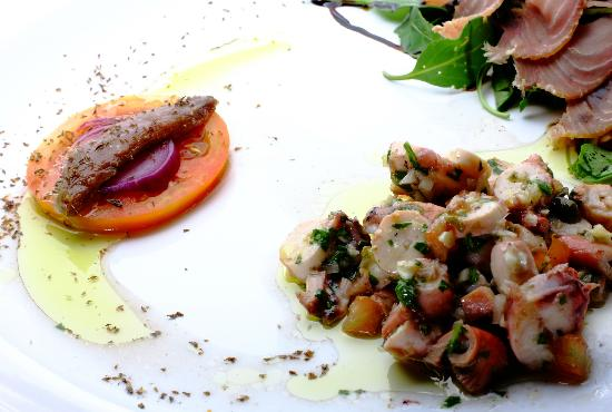 Jurin Podrum: Octopus salad, smoked tuna, salted anchovie