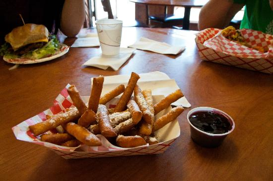 Arrowleaf Ice Cream Parlor : funnel fries with huckleberry sauce