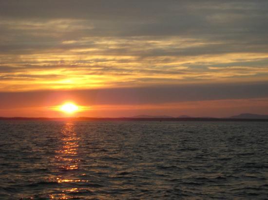 Old Quarry Ocean Adventures: Sun setting on Camden Hills across Penobscot Bay