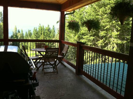 Cedar House Restaurant & Chalets: La terrasse et le barbecue