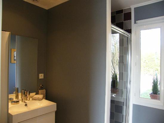 Les Pins : salle de bain chambre verte