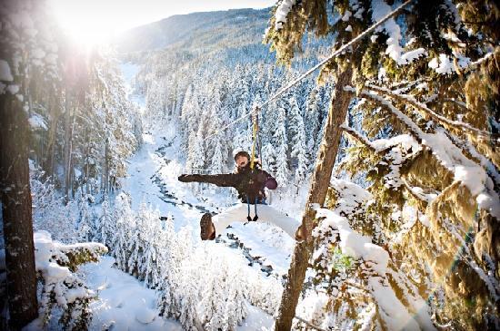 Whistler, Kanada: Woman enjoying a zipline tour in the winter. Photo credit: Chad Chomlack