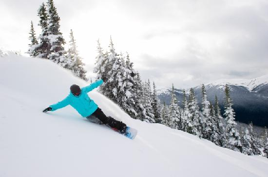 Whistler, Kanada: Snowboarding 7th Heaven on Blackcomb Mountain after a dump of fresh powder in January. Photo cre