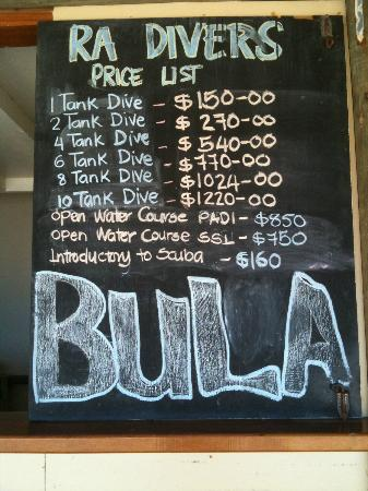 Volivoli Beach Resort Fiji: Rates Ra Divers Sept 2012