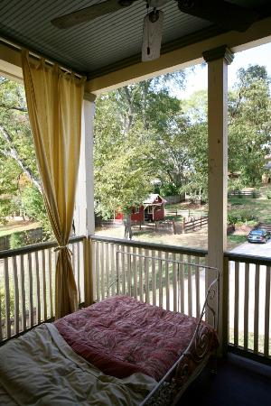 The Social Goat Bed & Breakfast: yellow room sleeping porch