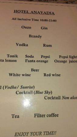 Hotel Anavadia: Drinks menu