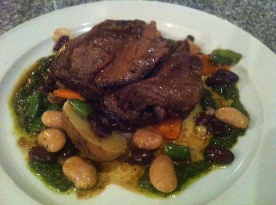 Essence Brasserie: Slow roasted lamb with new potaoes, 3 bean salad & salsa verde