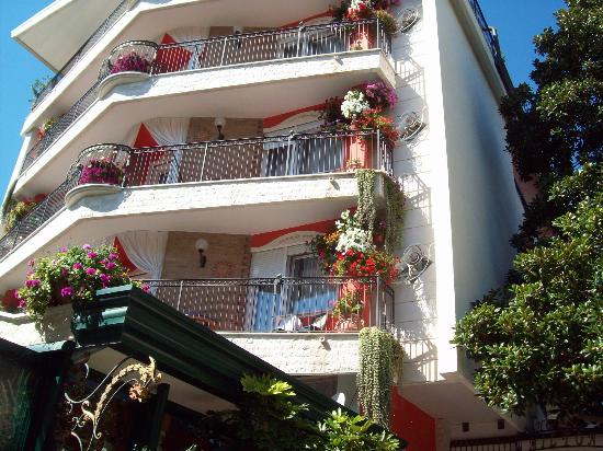 Hotel Milton: Flower decked balconies at the front of the hotel adds to the charm .