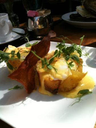 Marc Forgione: Eggs Benny, with prosciutto, and potatoes instead of muffin. beautiful, bland hollandaise