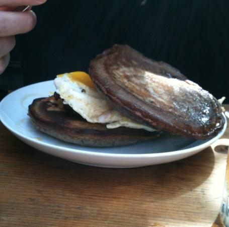 Marc Forgione : Breakfast sandwich with buckwheat pancakes. loved these!