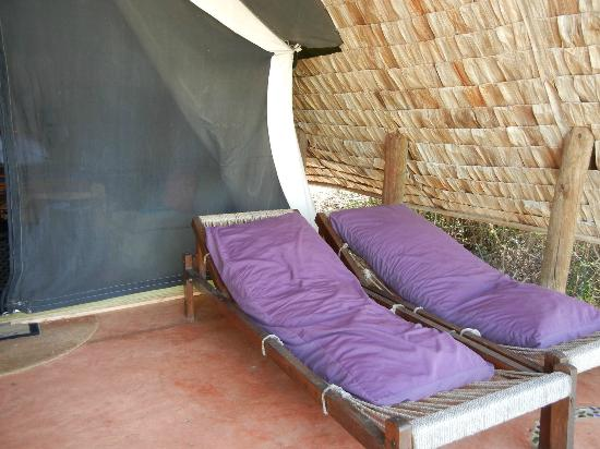 andBeyond Grumeti Serengeti Tented Camp : lounge chairs outside my tent, great for relaxing in between drives