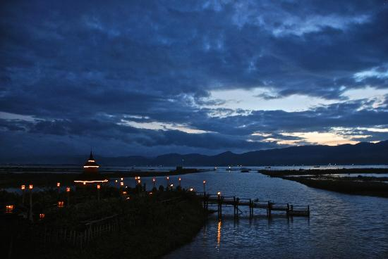 Myanmar Treasure Inle Lake: Lake view from front of hotel at sunset