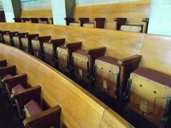 Buffalo City Hall: In Chambers (wire hat racks on seat bottoms)