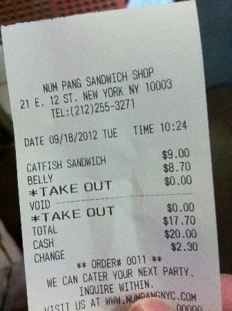 Num Pang Sandwich Shop: Price