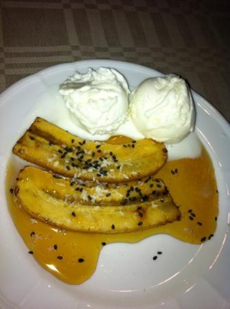 Koreana: deep-fried banana with coco crumbs and syrup