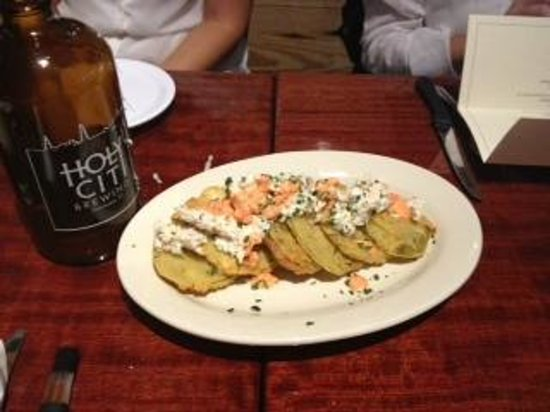 Sesame Burgers & Beer: fried green tomatoes, holy city beer dinner
