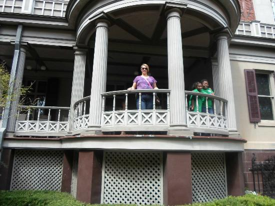 Juliette Gordon Low's Birthplace: Me on the Porch overlooking Garden Courtyard