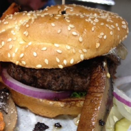 Sesame Burgers & Beer: Burger with Portobellos
