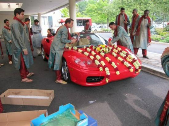 Hanover Marriott: Ferrari Being decorated for the Groom