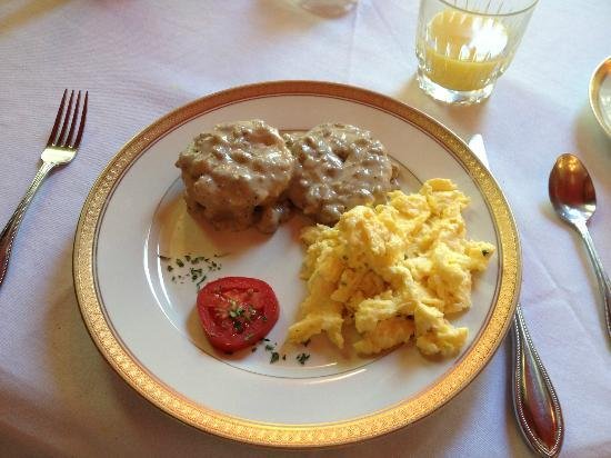 Hamilton-Turner Inn: scrambled eggs with sausage gravy biscuits for breakfast