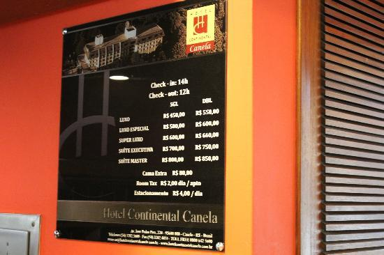 Hotel Continental Canela: Preços em junho de 2012