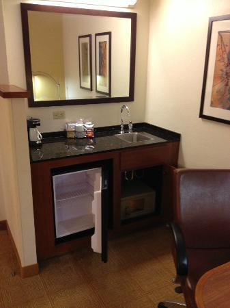 Hyatt Place Busch Gardens: Small refrig and sink as well as a safe.