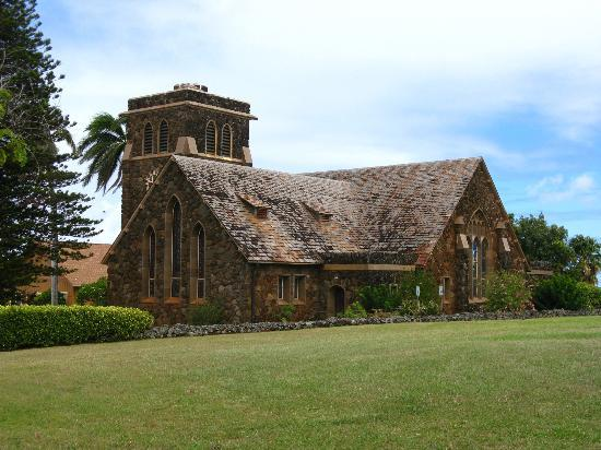 Paia, Hawaje: neat things to see on the way down - church made from lava rocks