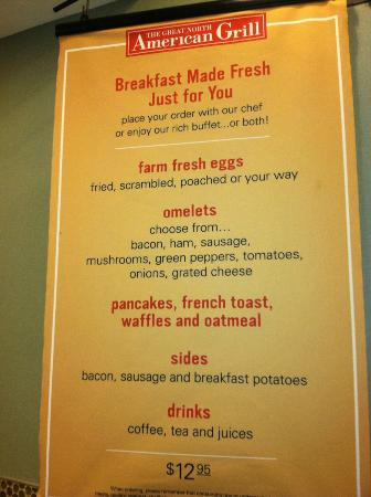 Breakfast menu picture of hilton garden inn toronto city - Hilton garden inn breakfast menu ...