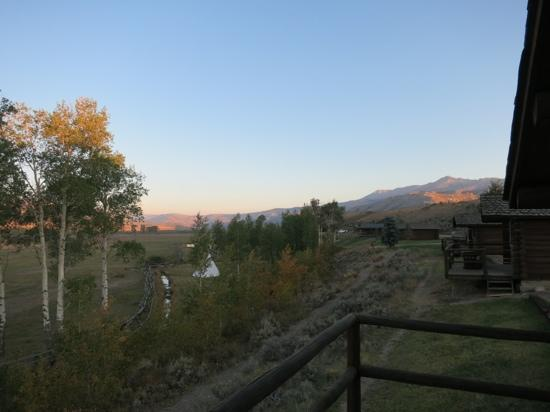Goosewing Ranch: morning, seen from our log cabin