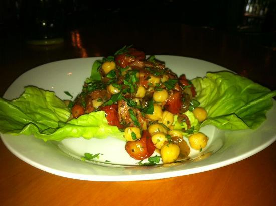 Royal Palm Village Wine & Tapas: Garbanzo Salad w/ Chorizo, Tomato, Garden Herbs & Caramelized Onion Vinaigrette
