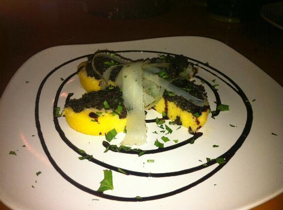 Royal Palm Village Wine & Tapas: Polenta Cakes w/ Truffled Mushroom Duxelle, Shaved Manchego & Balsamic Glaze