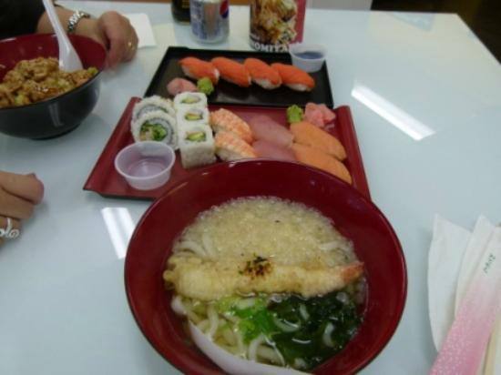 Sushi North: Chicken teryaki, artic char sushi, combo sushi and bowl of udon