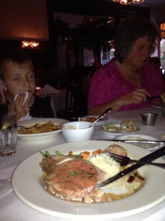 Maldaner's: Prime rib, and kids are eating lasagna noodles.