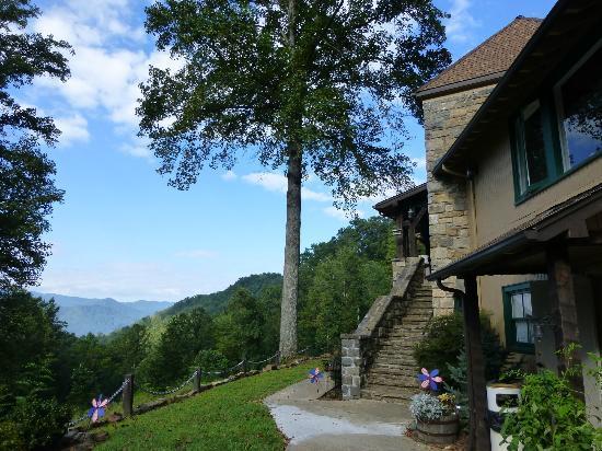 توكاسيجي ريفر ماونتن لودج: Entry to the lodge with majestic oak 
